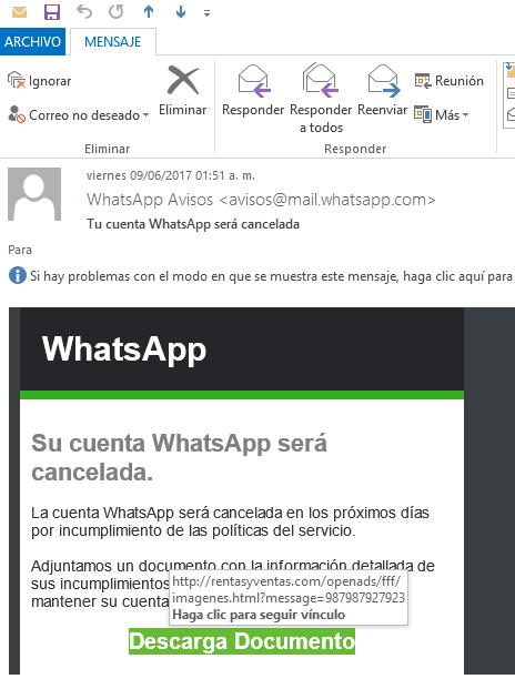 Su cuenta whatsapp será cancelada