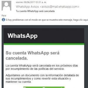 La cuenta WhatsApp será cancelada
